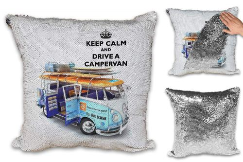 Keep Calm and Drive A Campervan Sequin Reveal Magic Cushion Cover